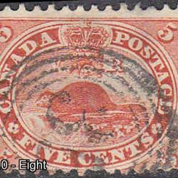 test Canada #14 Used With 4 Ring Numeral Cancel